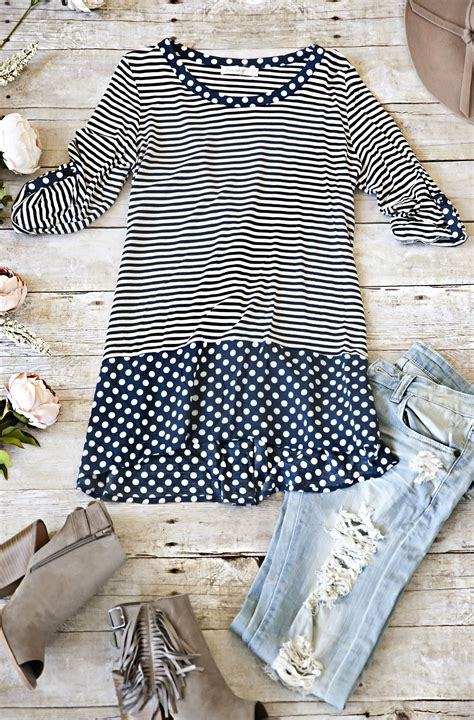 striped pears and polka dots the of being happy books stripes and polka dots top navy laposhstyle