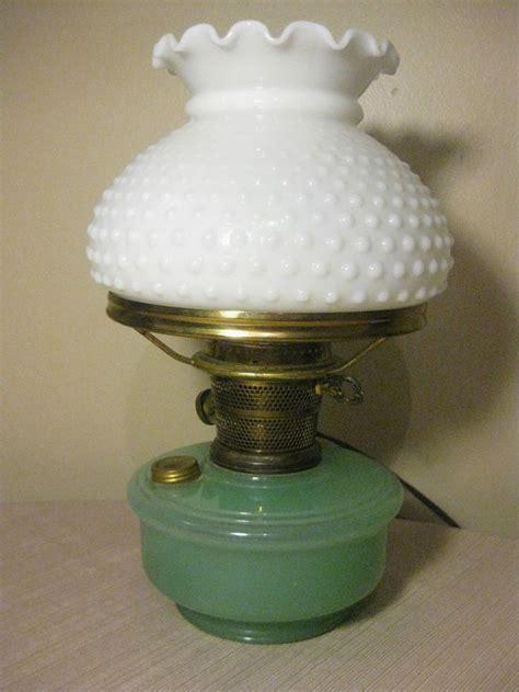 vintage electric oil ls vintage aladdin oil l green moonstone white hobnail