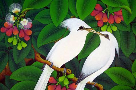 Lukisan Burung Custom painting balinese bali starling jalak bell fruits