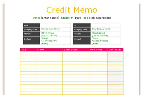 Basic Credit Note Template Credit Memo Template Basic Format Dotxes