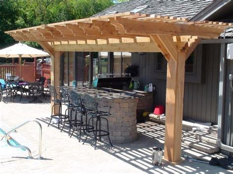 stylish wooden pergola for small outdoor kitchen designs