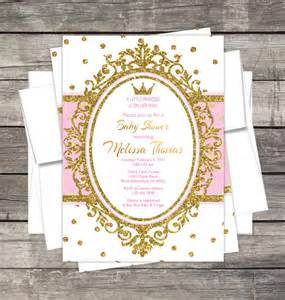 baby shower de princess royal princess baby shower invitation pink or lavender gold