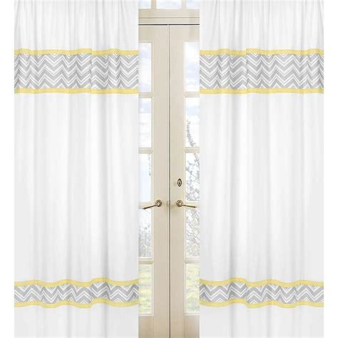 yellow white curtains yellow and grey zig zag 84 inch curtain panel pair