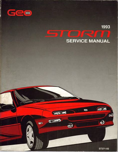 car owners manuals for sale 1993 geo storm head up display purchase 1993 chevy geo storm service manual shop st 371