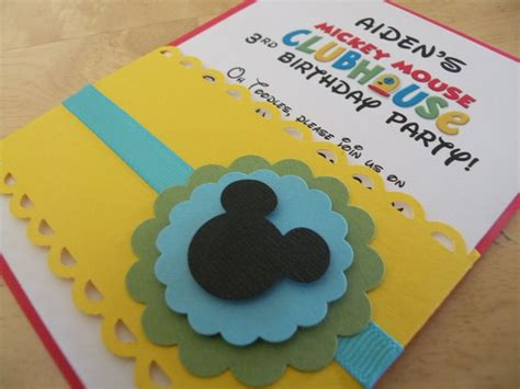 Handmade Mickey Mouse Invitations - mickey mouse clubhouse inspired birthday handmade