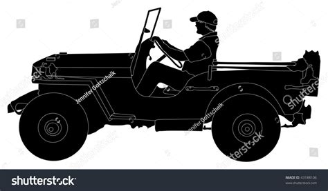 jeep silhouette silhouette man driving jeep stock vector 43188106