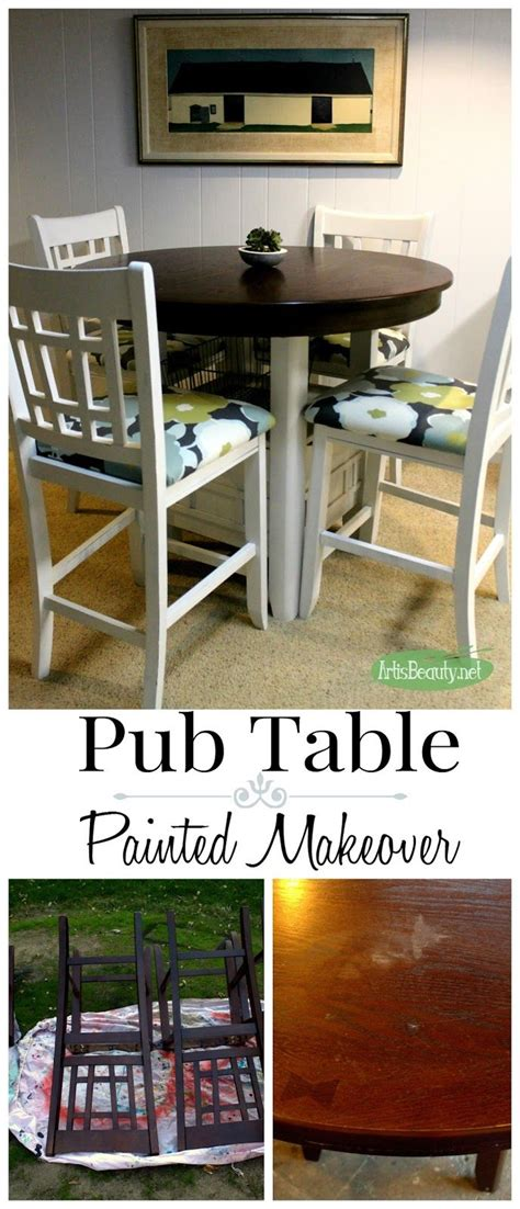 fixer upper style painted pub table makeover kitchen