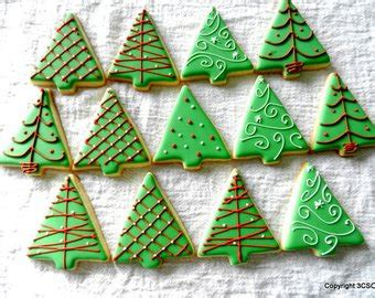 put sugar in xmas tree tree cookies etsy