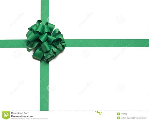 christmas green ribbon and bow royalty free stock images