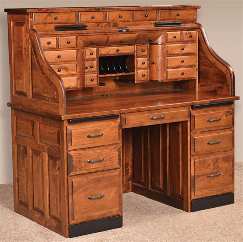 amish roll top desk deluxe amish roll top desk rustic cherry