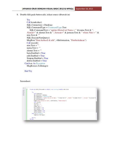 Aplikasi Basis Data Dengan Visual Basic Net Cd I Ketut Darmayuda aplikasi crud dengan visual basic 2012