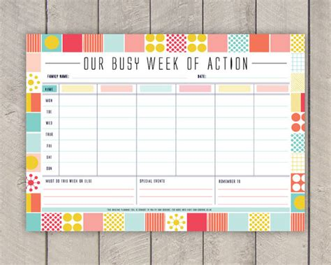 family planner printable free diy family weekly planner printable mid century organiser in