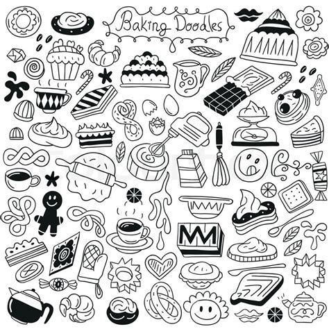 doodle drawing website sweet baking doodles collection stock vector colourbox