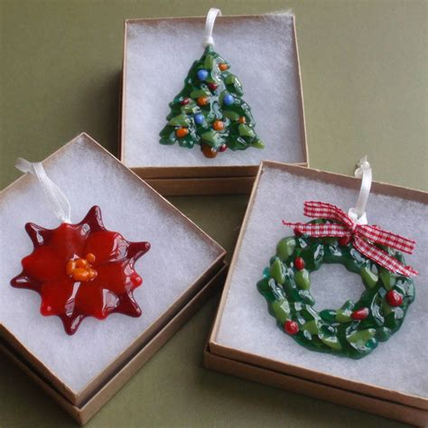 Handmade Glass Tree Decorations - handmade glass poinsettia tree decoration by