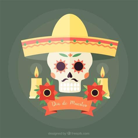 dise 241 o de calavera mexicana descargar vectores gratis fondo de calavera con sombrero mexicano descargar