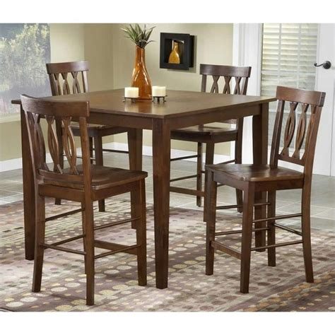 bernards merlot 3 piece dining set reviews wayfair bernards 5 piece pub dinette in merlot finish 5712