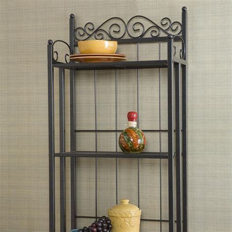 Bakers Shelf Rack Celtic Bakers Rack Gunmetal Gray Kitchen