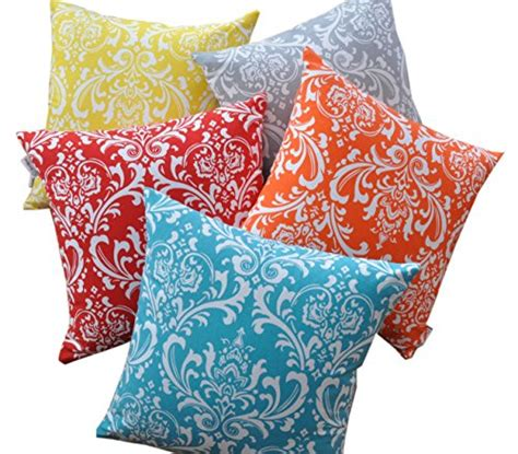 18 Inch Decorative Pillow Covers by Treewool Pack Of 2 Cotton Canvas Damask Accent