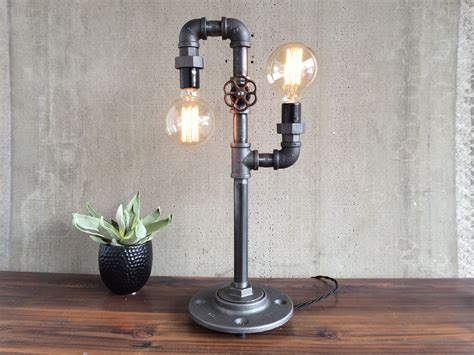 Handmade Bulbs - custom made industrial edison bulb light iron pipe table
