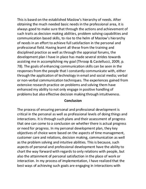Personal And Professional Development Essay by Personal And Professional Development Plan Sle Essay