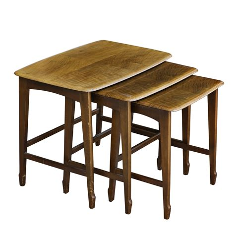 nesting tables set of three mahogany remploy wooden nesting tables ebay