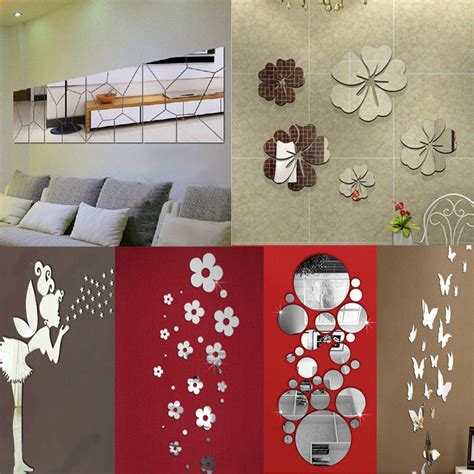 home wall decor stickers removable mirror decal art mural wall stickers home decor