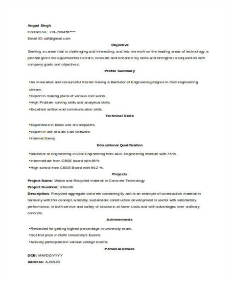 Resume Format Exles For by Resume Format Of Civil Engineer Fresher 28 Images