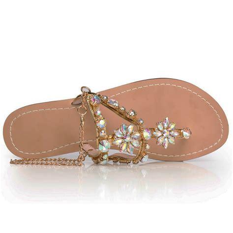 Flat Shoes Yongki Komaladi 6 2017 sandals shoes rhinestones chains gladiator flat sandals chaussure