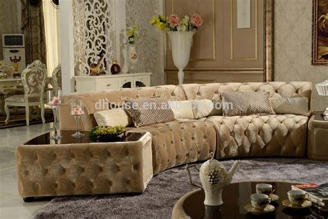 Tufted Design Chesterfield Half Round Corner Fabric Sofa Fabric Chesterfield Style Sofa