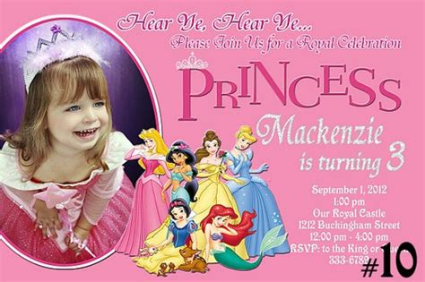 disney princess birthday invitations custom free printable personalized disney princess birthday