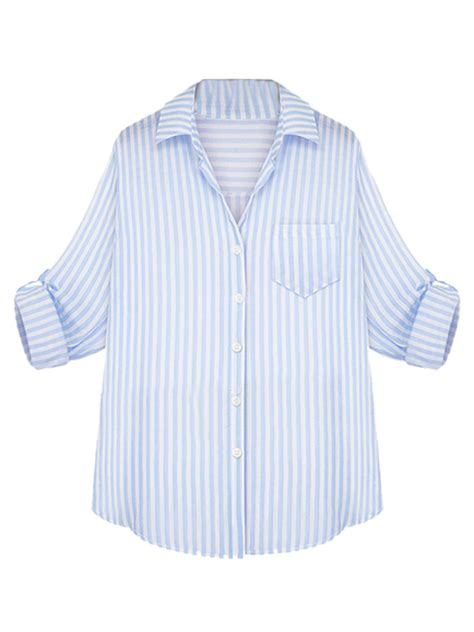 Blue Stripe S M L Blouse 44257 light blue stripe sleeve turn collar single
