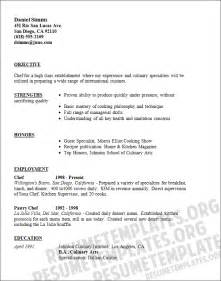 Sle Resume For Pastry Chef by Culinary Arts Student Resume Objective Ebook Database