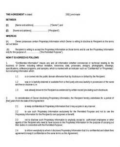 Standard Non Disclosure Agreement Template Standard Non Disclosure Agreement Form 18 Examples In