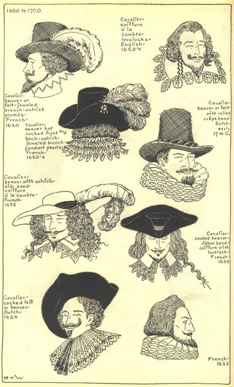 men hairstyles of the 17th century 17th century hats historical fashion 1600s pinterest