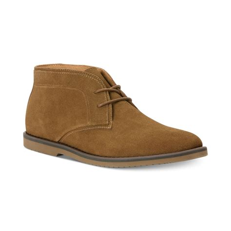 calvin klein franz suede chukka boots in brown for