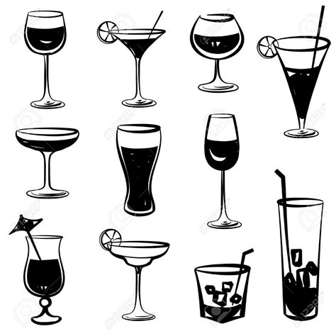 mixed drink clipart black and white cocktail clipart glass pencil and in color