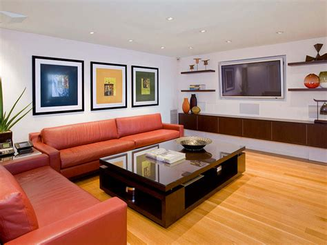 how to decorate a modern living room contemporary small living room with red leather sofa