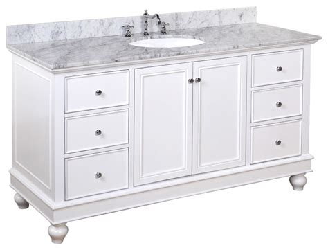 bath vanity carrara white 60 quot single