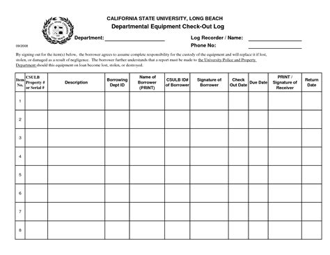 key checkout form template best photos of check in check out template equipment