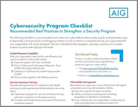 aig produces cyber security program checklist | youtalk