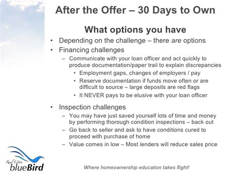 What Do You To Offer Day 17 Offer - after the offer 30 days to homeownership 4 27 09
