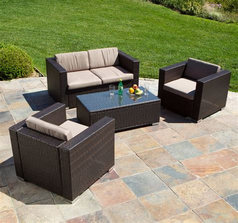 westlake brown wicker 4pc outdoor sofa set modern