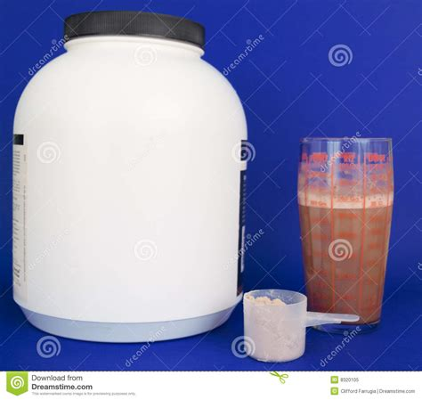 4 protein scoops a day protein shake with drink and scoop royalty free stock