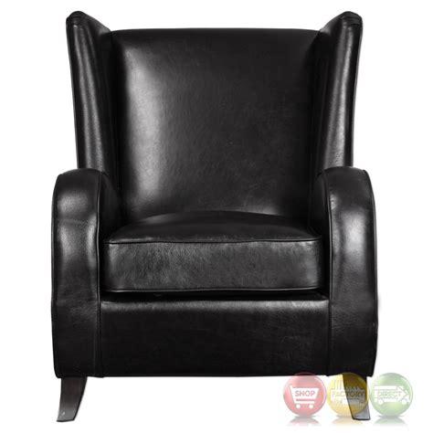 Black Leather Accent Chair Black Faux Leather Accent Chair With Wingback Design Walnut Hardwood Legs