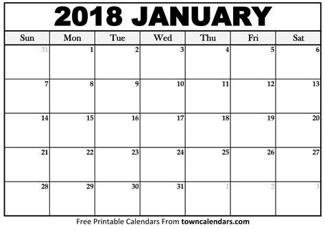 Calendar 2018 January Printable January 2018 Calendar Towncalendars