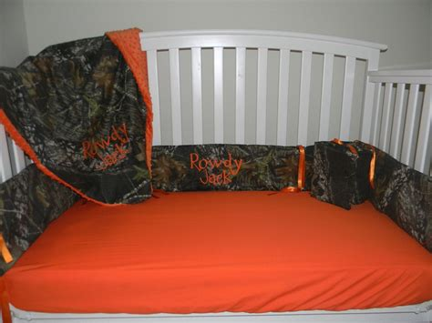 orange camo crib bedding for braxton
