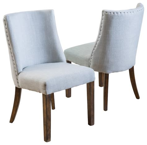 Rydel Fabric Dining Chairs Set Of 2 Blue Grey Grey Fabric Dining Room Chairs