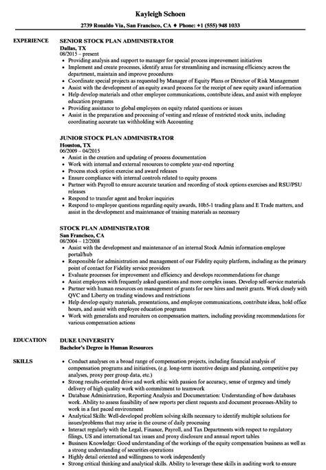 Stock Plan Administrator stock plan administrator resume sles velvet