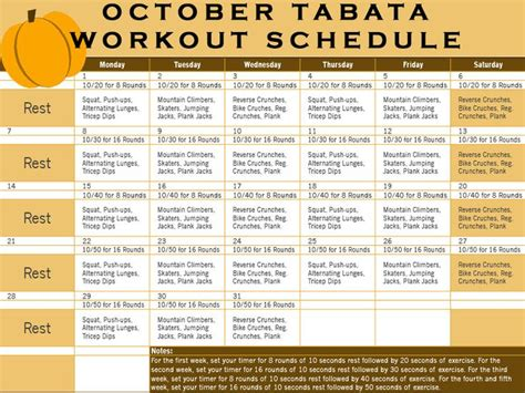 tabata schedule october tabata workout calendar