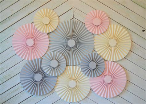 Paper Fan Decorations - pink grey and set of 10 ten paper fans rosettes